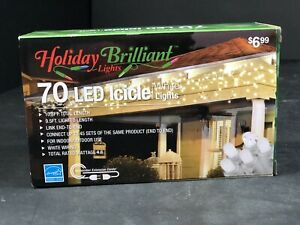 Christmas Lights Holiday Brilliant 70 LED Icicle White Lights 10.8 Total FT NEW