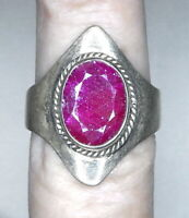 Estate 4ct Natural Earth Mined Ruby Hand Poured Heavy Solid Sterling Silver Ring