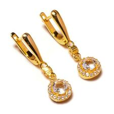 925 Sterling Silver Yellow Gold Plated White Topaz Gemstone CZ Dangle Earrings