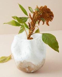 """NEW Anthropologie Square Dimpled Snow-cast Vase  6"""" x 6"""" x 7.5""""h Unique Floral"""