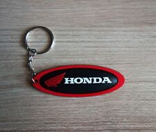 HONDA Keychain Keyring Black Red Rubber Motorcycle Bike Car Collectible Gift New