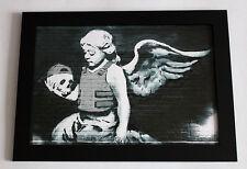 Banksy Skull Angel framed 8X12 canvas print poster street art graffiti