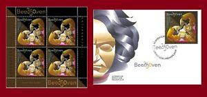 250th birth anniversary of Ludwig van Beethoven. Azerbaijan 2020. + FDC