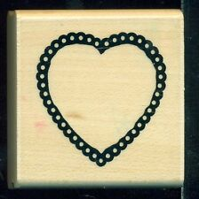 CTMH CO Mounted Rubber Stamp OUTLINE DOILY HEART FRAME Valentine Romance Theme