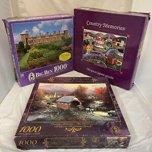 3 Jigsaw Puzzles Milton Bradley Ceaco Thomas Kinkade Big Ben Country Landscapes!