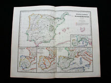 1880 SPRUNER - rare map: KINGDOM of SPAIN, PORTUGAL, BARCELONA, SOUTH ITALY...