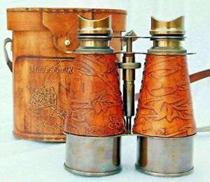 Antique Nautical Brass  Spyglass Binoculars Royal Navy Binocular W/ Leather Box