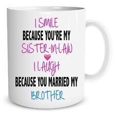 Funny Novelty Mugs Sister In Law Joke Cups Brother Family Ceramic Gift WSDMUG666