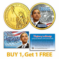 BARACK OBAMA Inauguration Presidential $1 Dollar US Coin 24K Gold Plated - BOGO