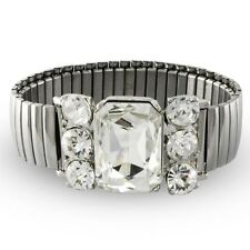 NEW Glitzy Clear Rhinestone Stretch Bracelet Silvertone Expanding Watch Band