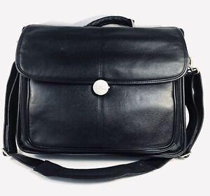 DELL Laptop Black Leather Messenger Notebook Bag with  Adjustable Strap