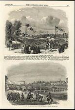 Great Exhibition Fetes Paris Military Review Pontoon 1851 antique engraved print