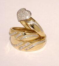 Gold & Diamond Trio Bridal Ring Wedding & Engegement Bride &Groom Set Brand New