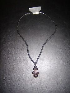 "Beaded Hematite Cats Eye Design Gemstone 18"" Necklace Birthday Gift Healing"