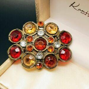 VINTAGE ACCESSORIES Bronze Red & Amber Glass BELT BUCKLE