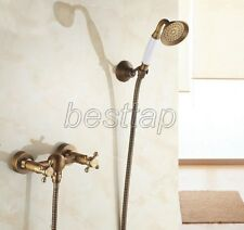 Antique Brass Bathroom Wall Mounted Hand Held Shower Faucet Mixer Tap stf300