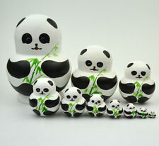 10Pcs Russian Nesting Doll Handpainted Panda Stacking Wooden Matryoshka Toy Set