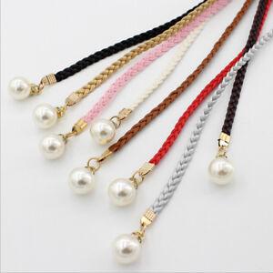 Women Thin Slim Waist Rope Belt Bohemia Pearls Ladies Braided Self-Tie Belts SG