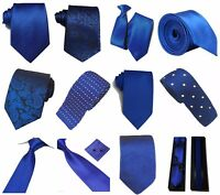 Royal Blue Collection Woven Paisley Jacquard Silky Knitted Satin Tie Wedding lot