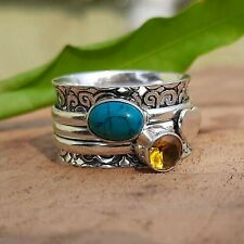 Turquoise Spinner Ring 925 Sterling Silver Plated Handmade Ring Size 7 zz133