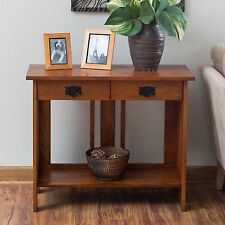 Brown 2 Drawer Mission Accent Console Table Home Living Room Furniture  Storage