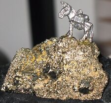 Pewter Burro/Pack Mule mounted on Fools Gold, Pyrite chunk