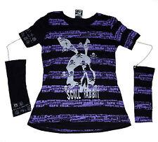 PUNKRAVE - Scull Rabbit - VISUAL KAI PUNK Shirt + ARMSTULPEN an Ketten - Größe M