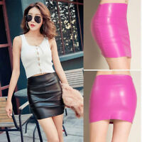Autumn Winter New Womens High Waist PU PVC Faux Leather Bodycon Party Mini Skirt