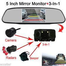 "Backup HD Camera & Radar Sensor + 5""Car Reverse Rear View Mirror Display Monitor"