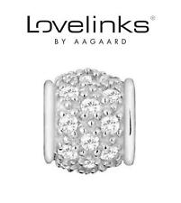 Genuine LOVELINKS 925 sterling silver clear sparkle pave charm bead RRP £36