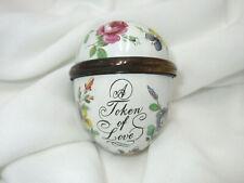 Halcyon Days Bilston Battersea England A Token Of Love Enamel Egg Trinket Box