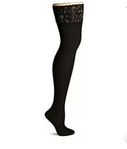 Hanes Women's Plus Size Curves Sheer Lace Thigh High, black,, Black, Size 3.0