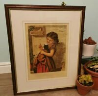 Charming Vintage Art Deco Style Framed Print Child with Kitten