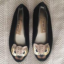 Vintage Carysma black leather flats leopard cat animal head metallic 6.5/7 Fit