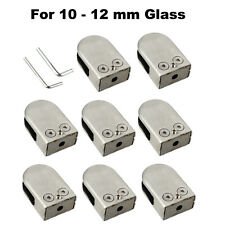 8x Stainless Steel Glass Clip Clamp Bracket Flat Back for Handrail 10-12mm Glass
