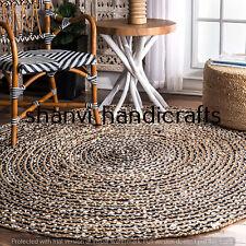 Bohemian Hand Woven Natural Braided Jute & Cotton 7 Feet Floor Area Rugs Carpet