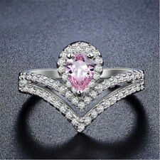 1 Ct Pink & White Diamond Solitaire Engagement Crown Ring In 14K White Gold Over