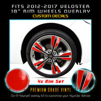 """For 2012-2017 Hyundai Veloster 18"""" Wheel Rims x4 Accent Decals - Glossy Matte"""
