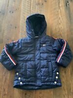 Tommy Hilfiger Kids Size 5 Quilted Puffer Coat Jacket Hooded Navy Blue Full Zip