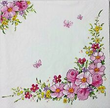 ROSES PINK FLORAL 2 individual LUNCH SIZE paper napkins for decoupage 3-ply