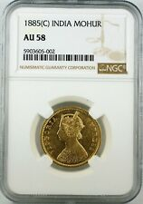 India British 1885 C Gold Mohur NGC AU58 - Conservatively Graded