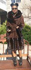 New Designer Hooded sable hue Swakara persian lamb Mink Fur coat S-M-8 Free belt
