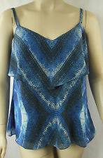 City Chic Blue Multi Strappy Frill Top Cami Tunic Plus Size XS 14 BNWOT CC242