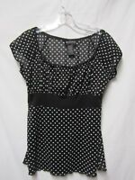 HOT TEMPERED top shirt blouse stretchy Junior size XL Bust 38 black/white w/dots