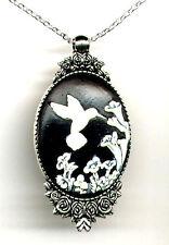 *SALE* ANTIQUE SILVER Ivory white HUMMINGBIRD Bird Cameo Rose Pendant Necklace