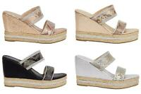 Shelikes Womens Sparkly Wedge Diamante Slip On Summer Beach Holiday Sandals