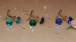 S/P 10mm Cufflinks with Sapphire, Emerald, Aqua Glass Stones  - Formal Wear