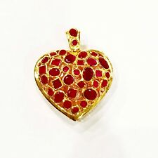 Ruby CZ Red Heart Carve 22K 23K 24K Thai Baht Yellow Gold Plated Pendant Jewelry