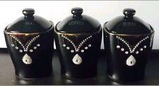 TEA COFFEE SUGAR DIAMANTE CANISTERS JARS STORAGE PINEAPPE KITCHEN ROMANY BLACK