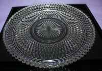 "Vintage 12-1/4"" Clear Glass Serving Platter ~ Diamond Point ~ Indiana Glass"